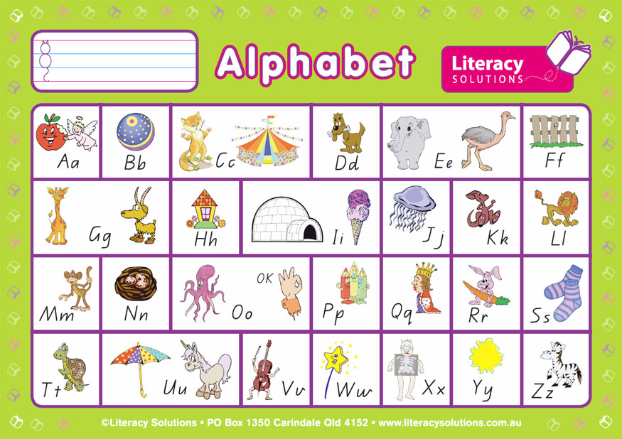 Alphabet side of A4 Deskmat