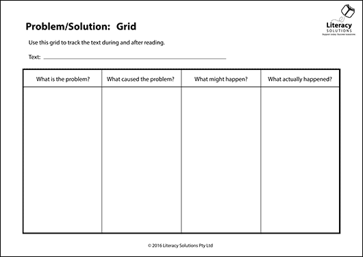 Graphic Organiser: Problem/Solution: Grid